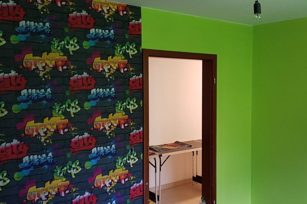 Jugendzimmer mit Graffiti-Art Fototapete