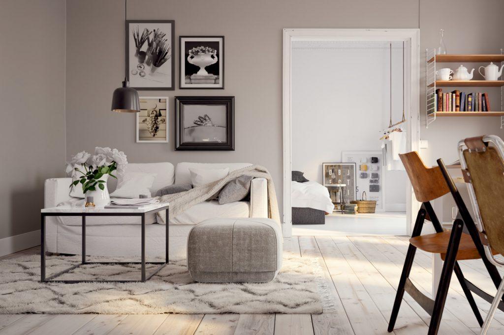 Farbanstrich von Wohn-Esszimmer im Scandi-Style